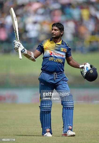 Kumar Sangakkara of Sri Lanka leaves the field after being dismissed for 112 runs during the 6th One Day International match between Sri Lanka and...