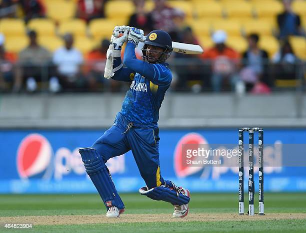 Kumar Sangakkara of Sri Lanka plays a shot during the 2015 ICC Cricket World Cup match between England and Sri Lanka at Wellington Regional Stadium...