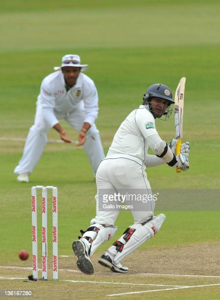 Kumar Sangakkara of Sri Lanka plays to fine-leg during day 3 of the 2nd Sunfoil Test match between South Africa and Sri Lanka at Sahara Park...