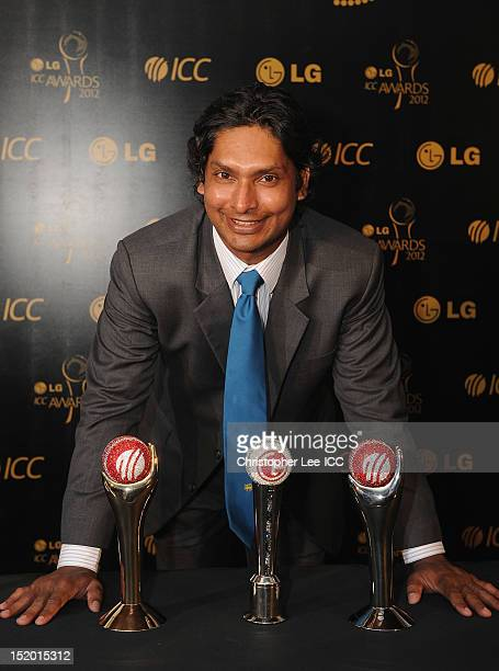 Kumar Sangakkara of Sri Lanka with his three trophies, the LG People Choice Award, Sir Garfield Sobers Trophy for Cricketer of the Year and ICC Test...