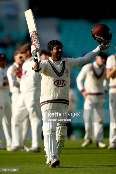 Kumar Sangakkara of Surrey acknowledges the crowd as he makes his way off in his final home game for Surrey after being caught and bowled by Dominic...