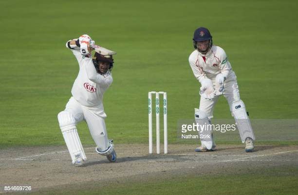 Kumar Sangakkara of Surrey batting during the County Championship Division One match between Lancashire and Surrey at Old Trafford on September 27...
