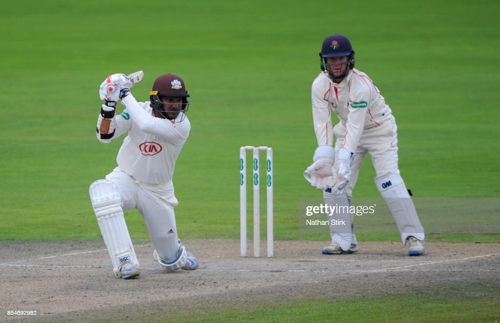 Kumar Sangakkara of Surrey batting during the County Championship Division One match between Lancashire and Surrey at Old Trafford on September 27, 2017 in Manchester, England.