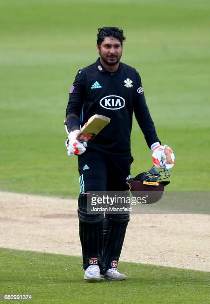 Kumar Sangakkara of Surrey celebrates his 100 during the Royal London OneDay Cup match between Surrey and Hampshire at The Kia Oval on May 14 2017 in...