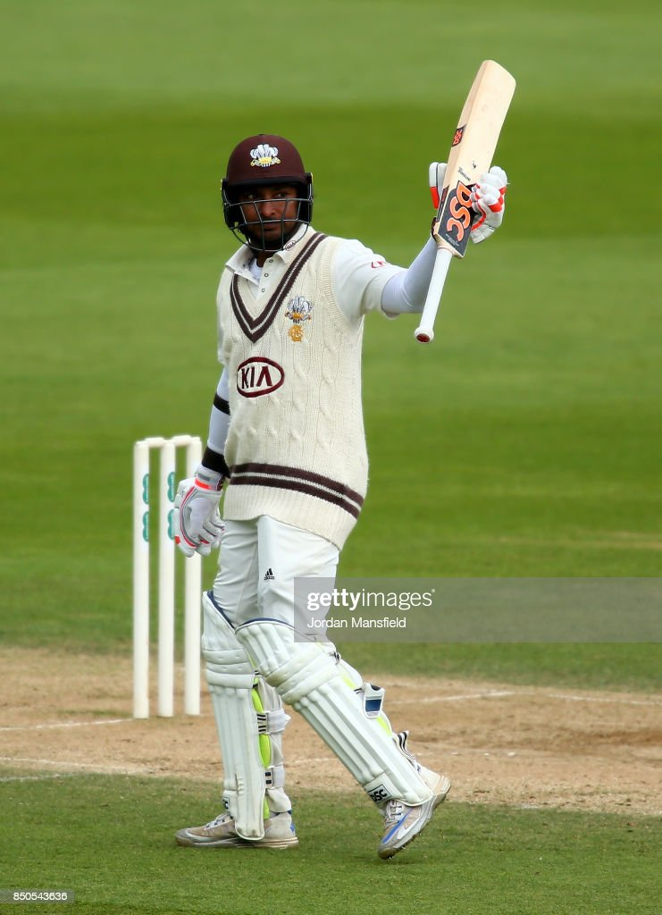 Kumar Sangakkara of Surrey celebrates his 150 during day three of the Specsavers County Championship Division One match between Surrey and Somerset at The Kia Oval on September 21, 2017 in London, England.