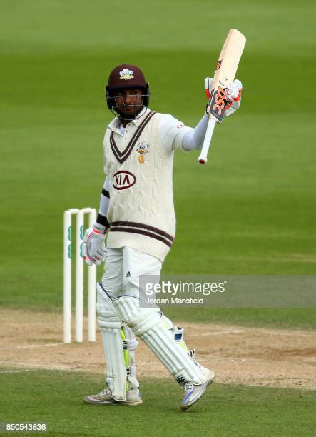 Kumar Sangakkara of Surrey celebrates his 150 during day three of the Specsavers County Championship Division One match between Surrey and Somerset...