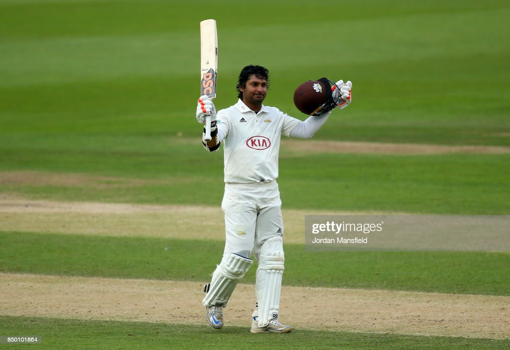 Kumar Sangakkara of Surrey celebrates his century during day two of the Specsavers County Championship Division One match between Surrey and Somerset at The Kia Oval on September 20, 2017 in London, England.