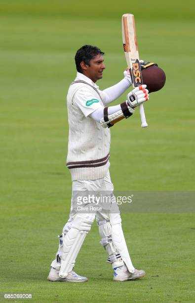 Kumar Sangakkara of Surrey celebrates his century during the Specsavers County Championship Division One match between Middlesex and Surrey at Lord's...