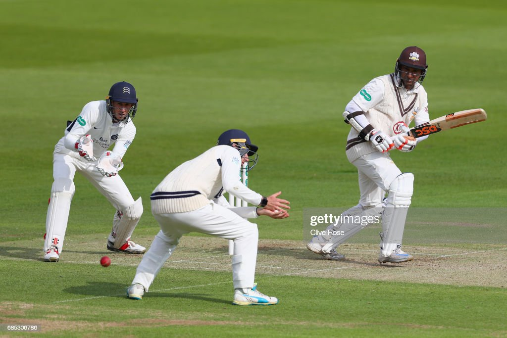 Kumar Sangakkara of Surrey in action during the Specsavers County Championship Division One match between Middlesex and Surrey at Lord's Cricket Ground on May 19, 2017 in London, England.