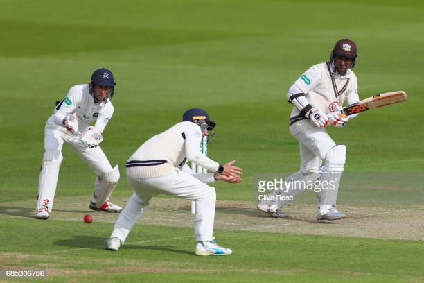 Kumar Sangakkara of Surrey in action during the Specsavers County Championship Division One match between Middlesex and Surrey at Lord's Cricket...