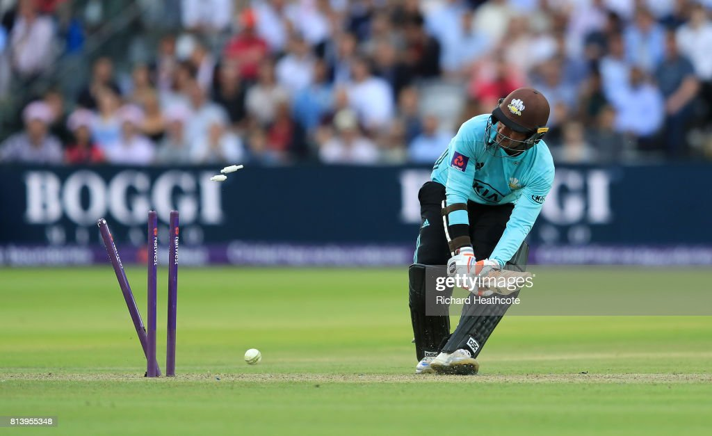 Kumar Sangakkara of Surrey is bowled out attempting a ramp shot by Steven Finn of Middlesex during the NatWest T20 Blast match between Middlesex and Surrey at Lord's Cricket Ground on July 13, 2017 in London, England.
