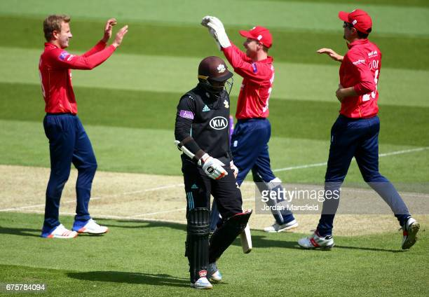 Kumar Sangakkara of Surrey walks off after being dismissed by Neil Wagner of Essex during the Royal London OneDay Cup match between Surrey and Essex...