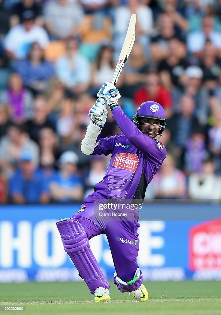 Kumar Sangakkara of the Hurricanes bats during the Big Bash League match between Hobart Hurricanes and Brisbane Heat at Blundstone Arena on December 22, 2015 in Hobart, Australia.