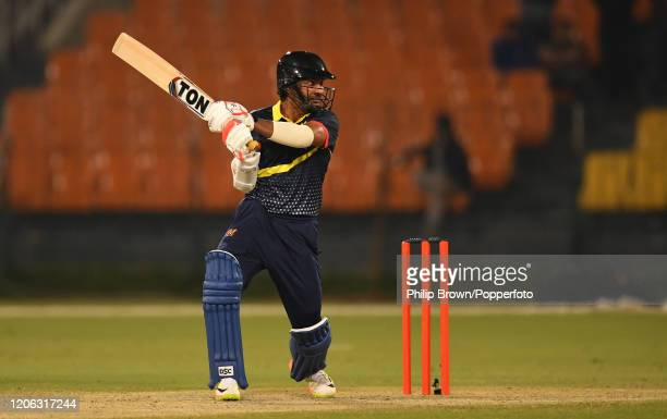 Kumar Sangakkara of the MCC hits out during the T20 match between an MCC team and Lahore Qalandars at Gaddafi stadium on February 14, 2020 in Lahore,...