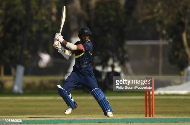 Kumar Sangakkara of the MCC hits out during the T20 match between Northern and the MCC at Aitchison College on February 17, 2020 in Lahore, Pakistan.