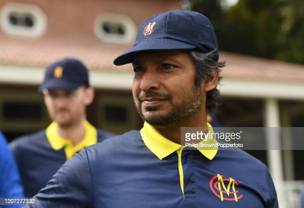 Kumar Sangakkara of the MCC looks on before the T20 match between Multan Sultans and the MCC at Aitchison College on February 19, 2020 in Lahore,...