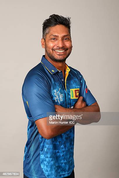 Kumar Sangakkara poses during the Sri Lanka 2015 ICC Cricket World Cup Headshots Session at the Rydges Latimer on February 8 2015 in Christchurch New...