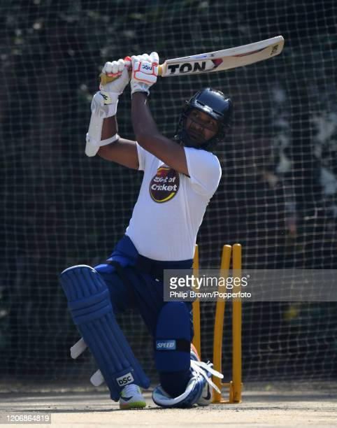 Kumar Sangakkara, President and Captain of the MCC bats in the nets before the T20 match between Northern and the MCC at Aitchison College on...