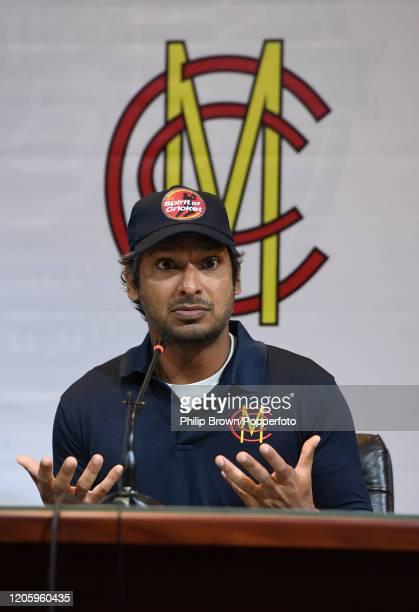 Kumar Sangakkara who is leading an MCC team to Pakistan at a press conference before Friday's match between MCC and Lahore Qalandars at Gaddafi...
