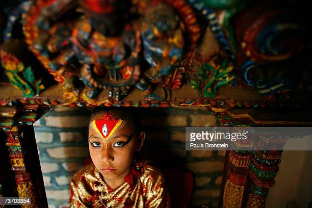 Kumari Devi Sajani Shakya sits on the special throne for puja used for blessings and religious ceremony on March 24 2007 in Bhaktapur Nepal As a...