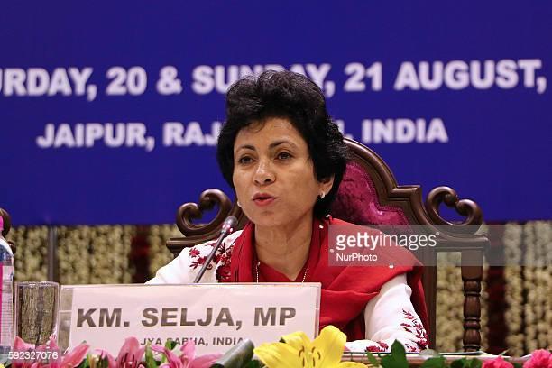 Kumari Selja MP Rajya Sabha speaks during the Plenary Session' Perspectives on implementation of SDGs at Rajasthan Assembly in Jaipur Rajasthan India...