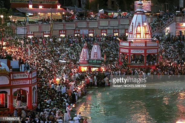 "Kumba Mela In Hardwar, India In April, 1998-Night Prayer ""Aarti"" among Main Bathing Area."