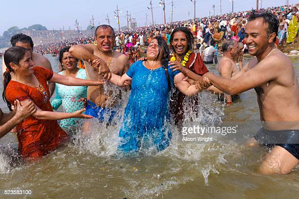 kumbh mela hindu festival - pilgrims and indians stock photos and pictures