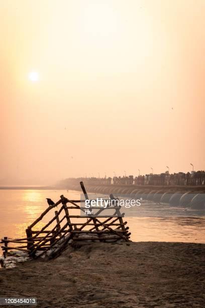 kumbh mela - pontoon bridge stock pictures, royalty-free photos & images