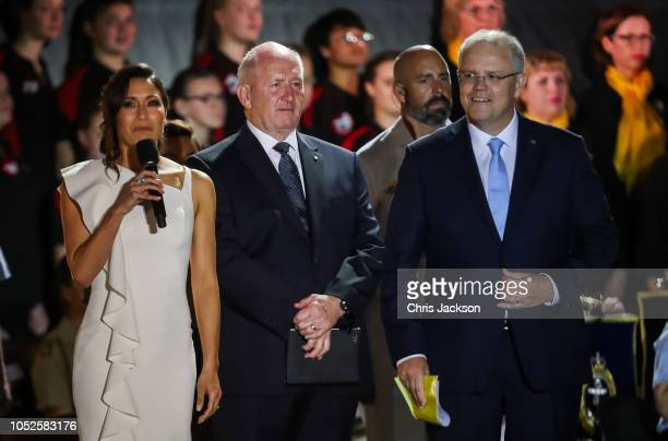 Kumi Taguchi Peter Cosgrove and Scott Morrison on stage during the Invictus Games Sydney 2018 Opening Ceremony at Sydney Opera House on October 20...