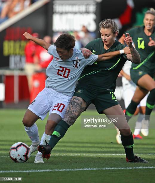 Kumi Yokoyama of Japan and Larissa Crummer of Australia battle for the ball during the 2018 Tournament Of Nations at Toyota Park on August 2 2018 in...