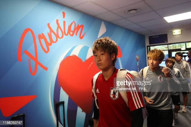 Kumi Yokoyama of Japan arrives at the stadium prior to the 2019 FIFA Women's World Cup France Round Of 16 match between Netherlands and Japan at...
