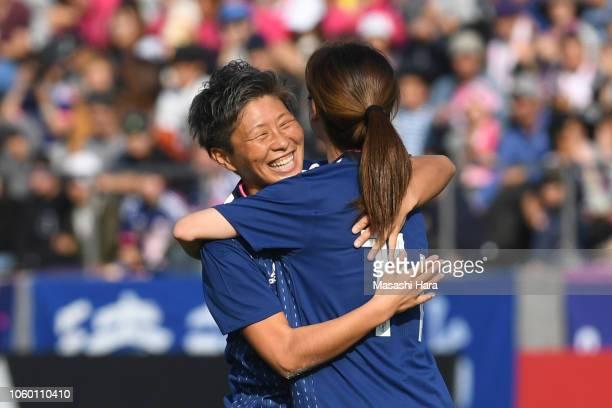 Kumi Yokoyama of Japan celebrates the first goal during the international friendly match between Japan and Norway at Torigin Bird Stadium on November...