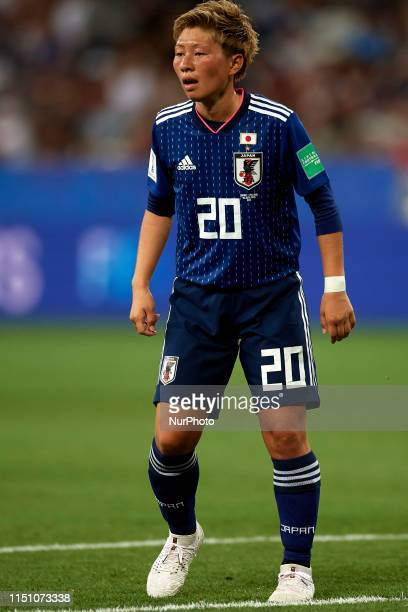 Kumi Yokoyama of Japan in action during the 2019 FIFA Women's World Cup France group D match between Japan and England at Stade de Nice on June 19,...