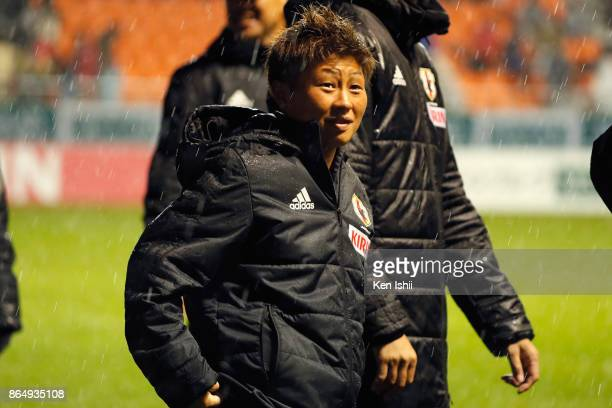 Kumi Yokoyama of Japan is seen after her side's 20 victory in the international friendly match between Japan and Switzerland at Nagano U Stadium on...