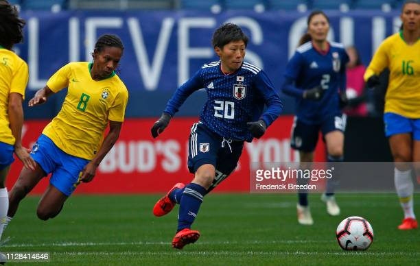 Kumi Yokoyama of Japan plays against Formiga of Brazil during the first half of the 2019 SheBelieves Cup match between Brazil and Japan Nissan...