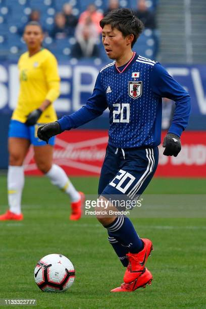 Kumi Yokoyama of Japan plays during the 2019 SheBelieves Cup match between Brazil and Japan at Nissan Stadium on March 2 2019 in Nashville Tennessee