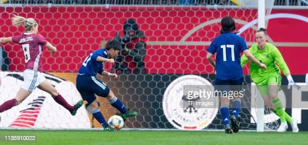 Kumi Yokoyama of Japan scores her team's second goal during a womens international friendly between Germany and Japan at Benteler Arena on April 9...