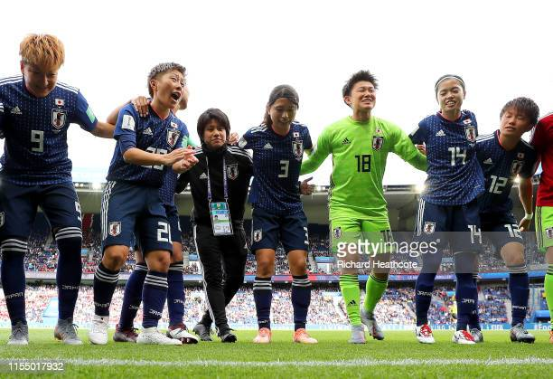 Kumi Yokoyama of Japan speaks with her teammates as they form a team huddle prior to the 2019 FIFA Women's World Cup France group D match between...