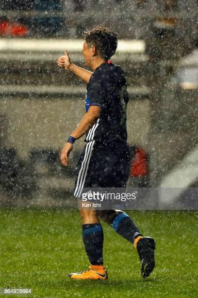 Kumi Yokoyama of Japan thumbs up during the international friendly match between Japan and Switzerland at Nagano U Stadium on October 22 2017 in...