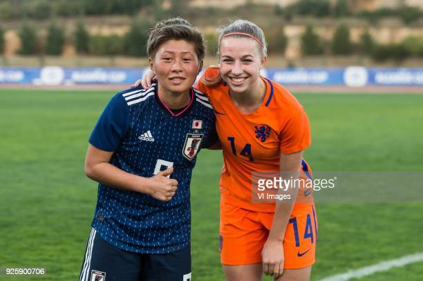 Kumi Yokoyama of Japan women Jackie Groenen of The Netherlands women during the Algarve Cup 2018 match between Japan and the Netherlands at the...