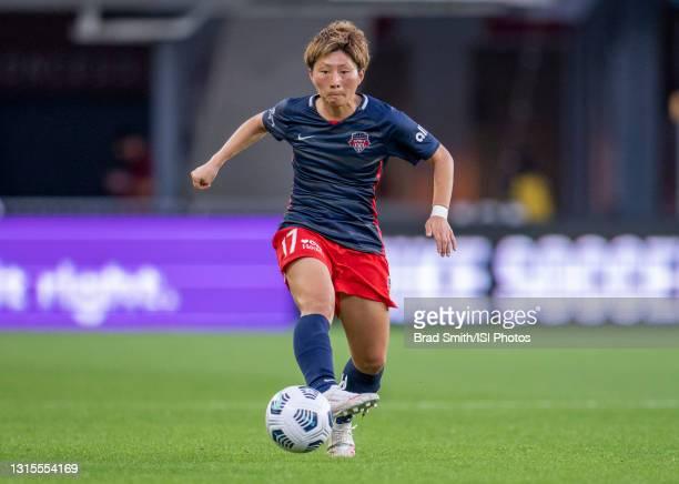 Kumi Yokoyama of the Washington Spirit dribbles during a game between NJ/NY Gotham City FC and Washington Spirit at Audi Field on April 27, 2021 in...