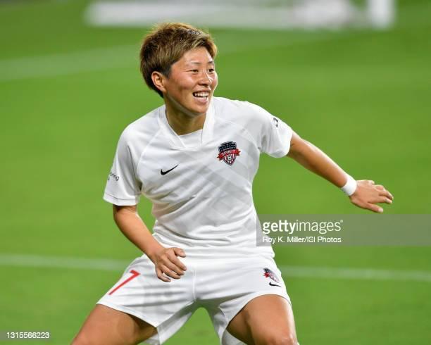 Kumi Yokoyama of the Washington Spirit during a game between Washington Spirit and Orlando Pride at Exploria Stadium on April 21, 2021 in Orlando,...