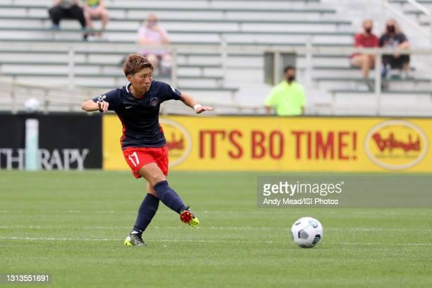 Kumi Yokoyama of the Washington Spirit plays the ball during a game between Washington Spirit and North Carolina Courage at Sahlen's Stadium at...