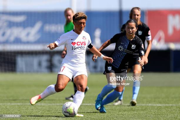 Kumi Yokoyama of Washington Spirit controls the ball against the Sky Blue FC during the first half in the quarterfinal match of the NWSL Challenge...