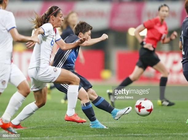Kumi Yokoyama opens the scoring in Japan's 30 win over Costa Rica in a Kirin Challenge Cup friendly at Kumamoto Prefecture Athletics Stadium on April...
