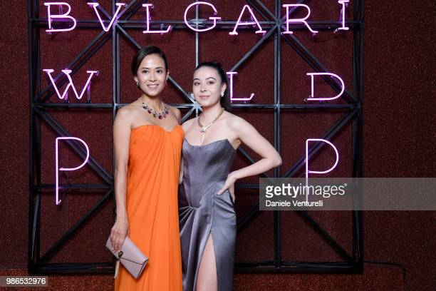 Kumiko Goto and Helena Alesi attend BVLGARI Dinner Party at Stadio dei Marmi on June 28 2018 in Rome Italy