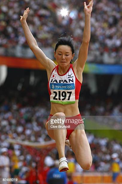 Kumiko Ikeda of Japan competes in the Women's Long Jump Qualifying Round held at the National Stadium on Day 11 of the Beijing 2008 Olympic Games on...