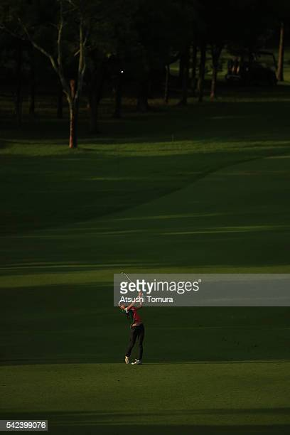 Kumiko Kaneda of Japan hits her second shot on the 7th hole during the first round of the Earth Mondamin Cup at the Camellia Hills Country Club on...