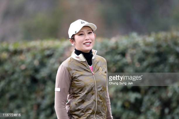 Kumiko Kaneda of Japan smiles on the 2nd hole during the second round of the TPoint x ENEOS Golf Tournament at Ibaraki Kokusai Golf Club on March 23...