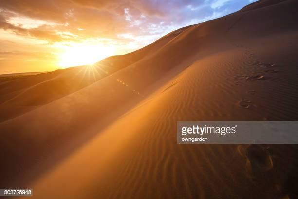 Kumtag Desert at sunrise,xinjiang,china